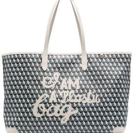 Anya Hindmarch geometric-print leather tote bag - Neutrals
