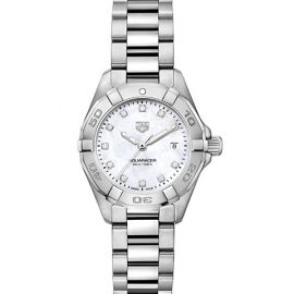 Aquaracer 27MM Stainless Steel, Diamond & Mother-of-Pearl Quartz Bracelet Watch