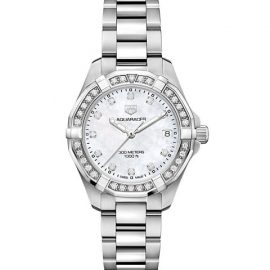 Aquaracer 32MM Stainless Steel, Diamond & Mother-of-Pearl Quartz Bracelet Watch
