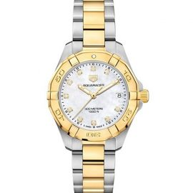 Aquaracer 32MM Stainless Steel, Yellow Goldplated, Diamond & Mother-of-Pearl Quartz Bracelet Watch
