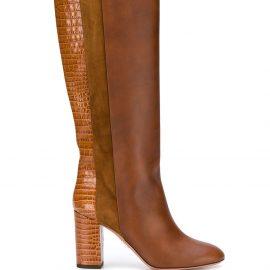 Aquazzura Eaton 85mm croc-embossed boots - Brown