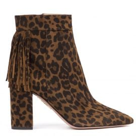 Aquazzura Leopard Suede Leather Ankle Boots