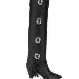 Aquazzura black Go West 70 knee-high studded leather boots