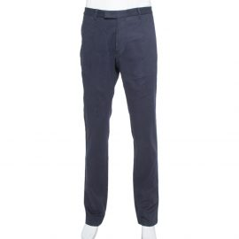 Armani Collezioni Navy Blue Cotton Tapered trousers 4XL