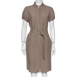 Armani Collezioni Taupe Linen Belted Midi Shirt Dress L