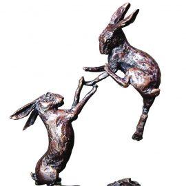 Art In Bronze Boxing Hares Figurine