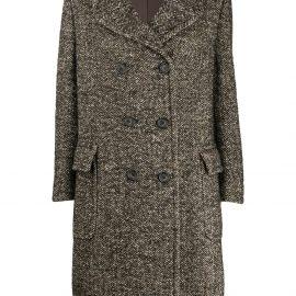Aspesi herringbone double-breasted coat - Brown