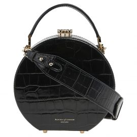 Aspinal Of London Black Croc Embossed Leather Hat Box Shoulder Bag