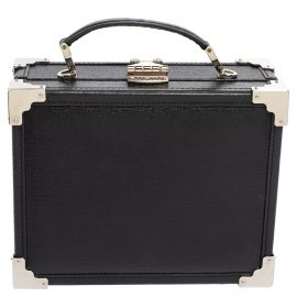 Aspinal Of London Black Leather Trunk Top Handle Bag