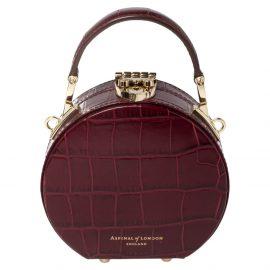Aspinal Of London Burgundy Croc Embossed Leather Hat Box Shoulder Bag