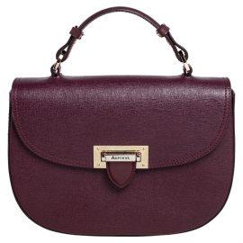 Aspinal Of London Burgundy Leather Letterbox Saddle Top Handle Bag
