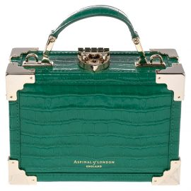 Aspinal Of London Green Croc Embossed Leather Micro Trunk Top Handle Bag