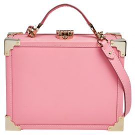 Aspinal Of London Pink Leather Trunk Top Handle Bag