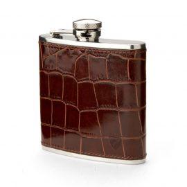 Aspinal of London® Brown Crocodile Print Leather Classic 5oz Hip Flask