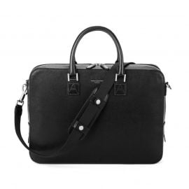 Aspinal of London® Finest Quality Full-Grain Leather Black Saffiano Small Mount Street Laptop Bag