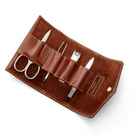 Aspinal of London® Mens Brown Leather Manicure Set