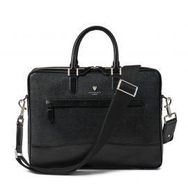 Aspinal of London® Mens Leather Black Saffiano Print Lightweight City Laptop Bag