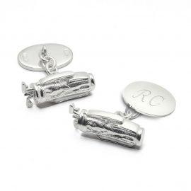 Aspinal of London® Mens Sterling Silver Personalised Golf Bag Cufflinks