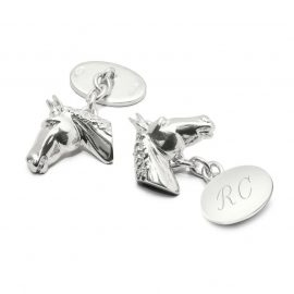 Aspinal of London® Mens Sterling Silver Personalised Horse Head Cufflinks
