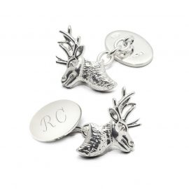 Aspinal of London® Mens Sterling Silver Personalised Stag Head Cufflinks