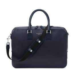 Aspinal of London® Navy Blue Leather Saffiano Small Mount Street Laptop Bag