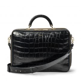 Aspinal of London® Womens Document Case in Deep Shine Black Soft Croc