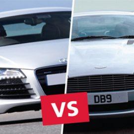 Aston Martin versus Audi R8 Driving