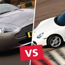 Aston Martin versus Porsche Driving at Thruxton