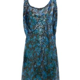 Atlein - Draped-shoulder Sequinned Mini Dress - Womens - Green Multi