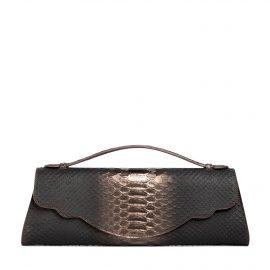 Audrey Clutch: Snake Embossed Pewter Designer Evening Clutch Bag