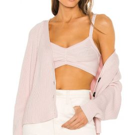 Autumn Cashmere Chunky Bra Top in Pink. Size M, S.