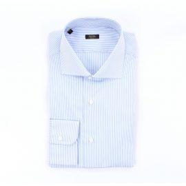 BARBA Shirts classic Men White and light blue