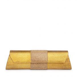 Baguette Lizard Crystal: Gold Clutch Designer Evening Bag