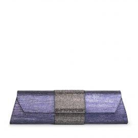 Baguette Lizard Crystal: Midnight-Blue Designer Evening Clutch Bag