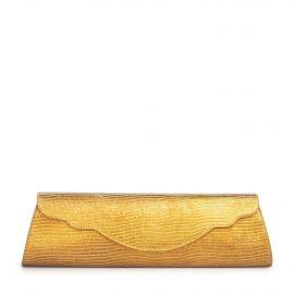 Baguette Lizard Evening Bag: Gold Designer Clutch