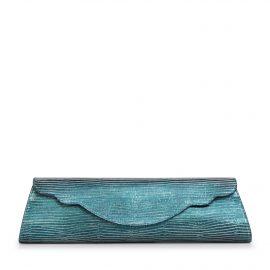 Baguette Lizard Evening Bag: Teal Designer Clutch