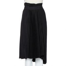 Balenciaga Black Crepe Logo Detail Pleated Asymmetric Hem Midi Skirt S