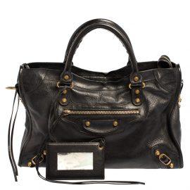Balenciaga Black Leather RH City Tote