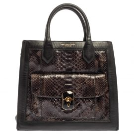 Balenciaga Black Leather and Python Padlock All Afternoon Tote