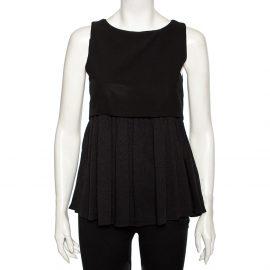 Balenciaga Black Textured Silk Contrast Overlay Detailed Sleeveless Mini Dress M