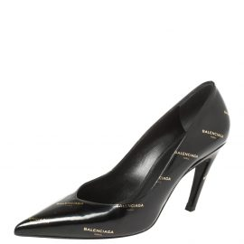 Balenciaga Black/Gold Logo Printed Leather Talon Slash Heel Pointed Toe Pumps Size 38