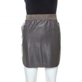 Balenciaga Brown Lamb Leather Elasticized Waist Mini Skirt L