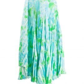 Balenciaga Dynasty floral-print pleated skirt - Blue