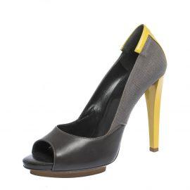 Balenciaga Grey/Yellow Canvas and Leather Peep Toe Pumps Size 38