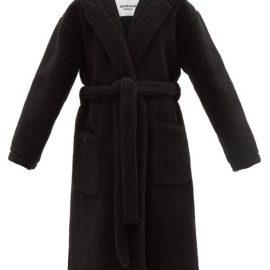 Balenciaga - Hooded Wool-blend Faux-shearling Robe Coat - Womens - Black