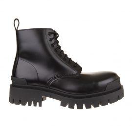 Balenciaga Man Black Strike Lace-up Ankle Boots