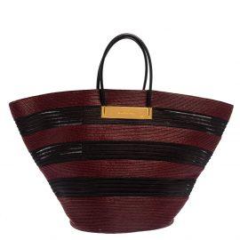 Balenciaga Maroon/Black Raffia Maxi Basket Tote Bag