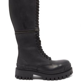 Balenciaga - Master Zipped Leather Knee-high Boots - Womens - Black