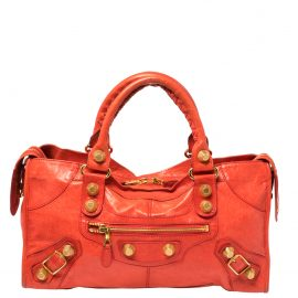 Balenciaga Orange Leather GSH Part Time Tote