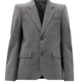 Balenciaga - Single-breasted Check Wool Jacket - Womens - Black White